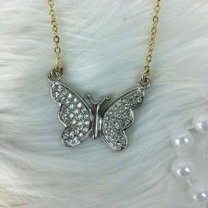 Pink Lane butterfly necklace